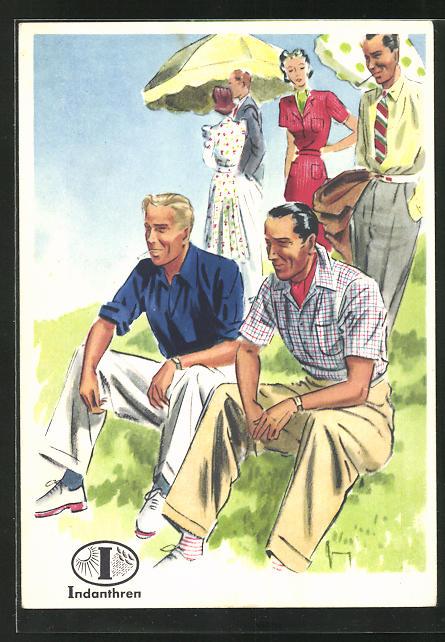 AK Reklame für Indanthrenfarbige Kleidung, Männer in sommerlichen Hosen und Hemden mit ihren Frauen