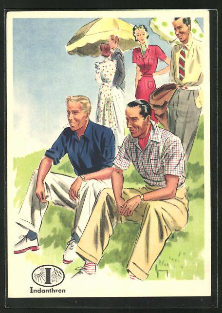 AK Reklame für Indanthrenfarbige Kleidung, Männer in sommerlichen Hosen und Hemden bei einem Ausflug