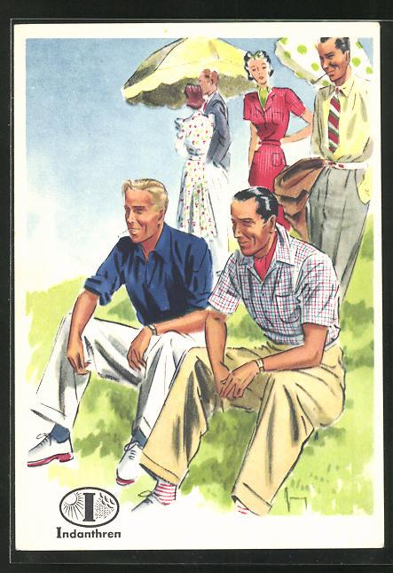 AK Reklame für Indanthrenfarbige Kleidung, Männer in sommerlichen Hosen und Hemden sitzen im Gras