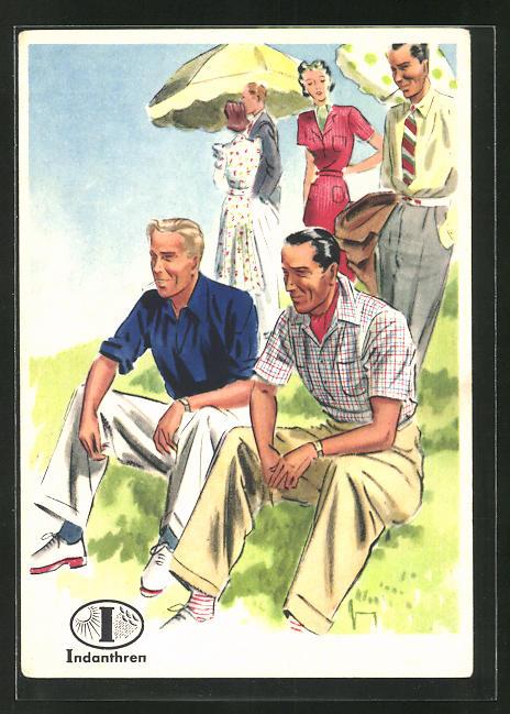 AK Reklame für Indanthrenfarbige Kleidung, Männer in sommerlicher Kleidung sitzen im Gras