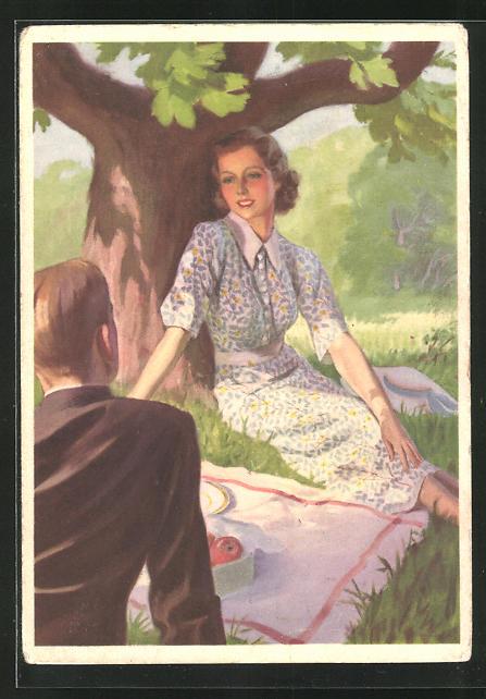 AK Reklame für Indanthrenfarbige Kleidung und Haushaltstextilien, Paar beim Picknick