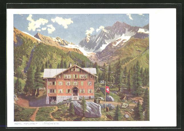 AK Lötschental, Hotel Fafleralp mit Gebirge im Hintergrund