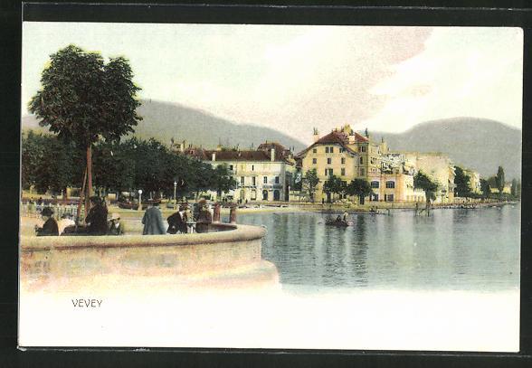 AK Vevey, Ortsansicht mit See