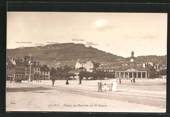 AK Vevey - Place de Marché et Mt. Pelerin
