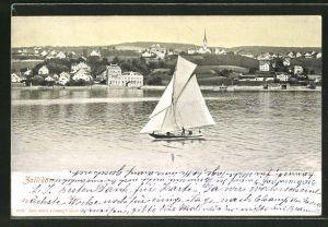 AK Zollikon, Segelboot auf dem See und Blick auf den Ort