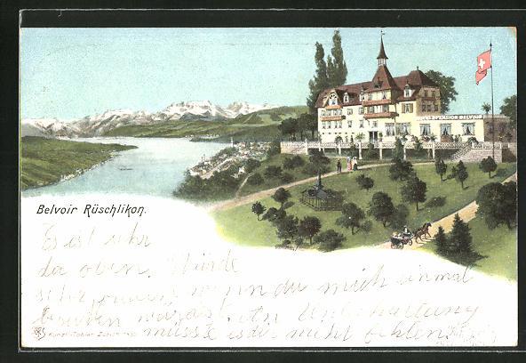 Lithographie Rüschlikon, Hotel Belvoir mit Gebirge im Hintergrund