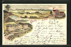 Lithographie Lauf b. Wald, Gasthaus zum Lauf mit Fernsicht, Sanatorium