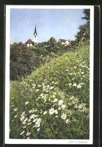 AK Herrliberg, Kirche mit Blumenwiese