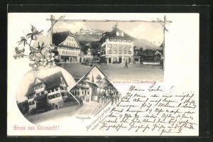 AK Küssnacht, Hotel Adler und Dorfplatz, Tellskapelle