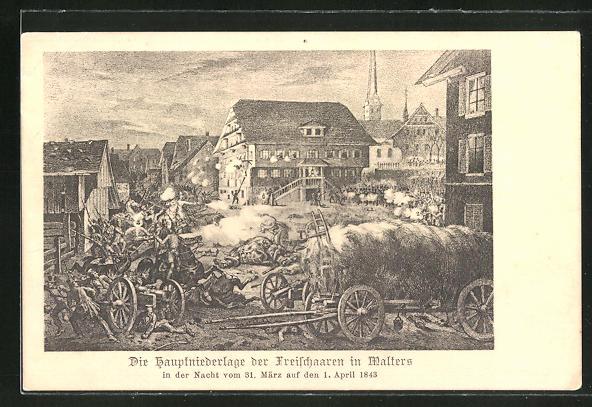 AK Malters, die Hauptniederlage der Freischaaren in der Nacht vom 31. März auf den 1. April 1843