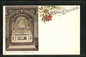 Lithographie Einsiedeln, Inneres der Gnadenkapelle