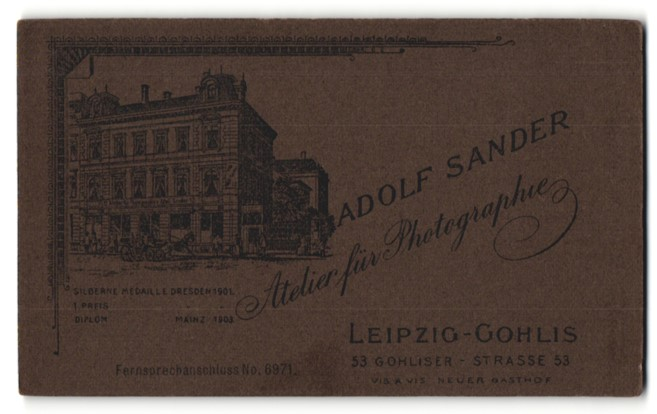 Fotografie Adolf Sander, Leipzig-Gohlis, Ansicht Leipzig-Gohlis, Atelier Gohliser-Str. 53