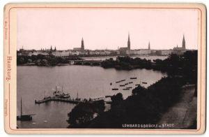 Fotografie Max Priester, Hamburg, Ansicht Hamburg, Lombardsbrücke mit Stadt