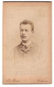 Fotografie J. Baur, Colmar, Portrait junger Herr in Anzug