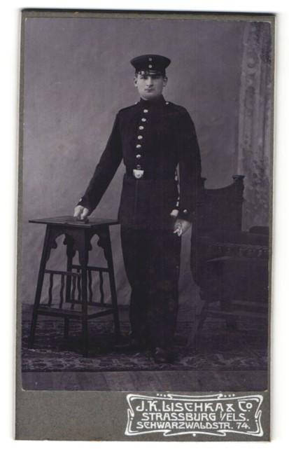 Fotografie J. K. Lischka & Co., Strassburg i/Els., Portrait Soldat in Uniform