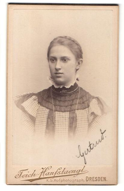 Fotografie Teich-Hanfstaengl, Dresden, Portrait Fräulein mit zusammengebundenem Haar