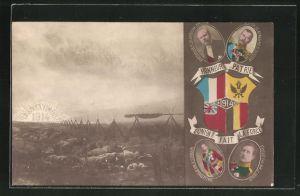 AK Honeur Patrie - L'Union fait la Force, Zar Nikolaus II., Poncaré, George V., Albert I., Propaganda Entente