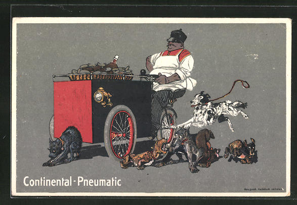 AK Continental-Pneumatic, Lastenfahrrad, Dreirad, Hunde, Reklame