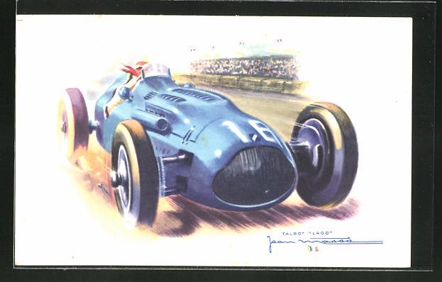 Künstler-AK Jean Massa: Talbot Lago, Rennwagen