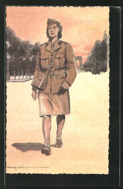 Künstler-AK Serie Armée Francaise de la Libération, Femme-Soldat
