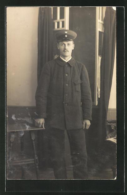 Foto-AK Eisenbahner in Dienstkleidung