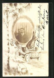 Foto-AK Portrait eines jungen Mannes, Osterhase im Auto auf Passepartout