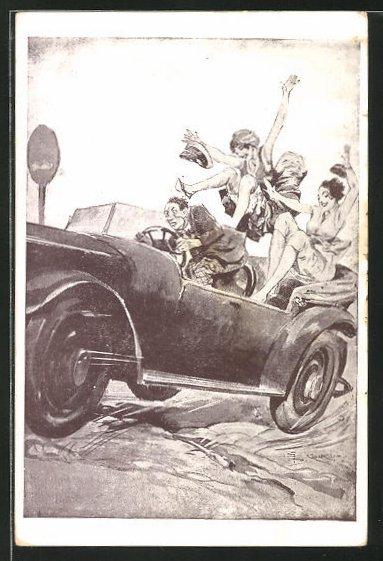 Künstler-AK Les Incidents de la Route, Le Cassis, Frauen fliegen im Auto auf einer Buckelpiste die Röcke hoch
