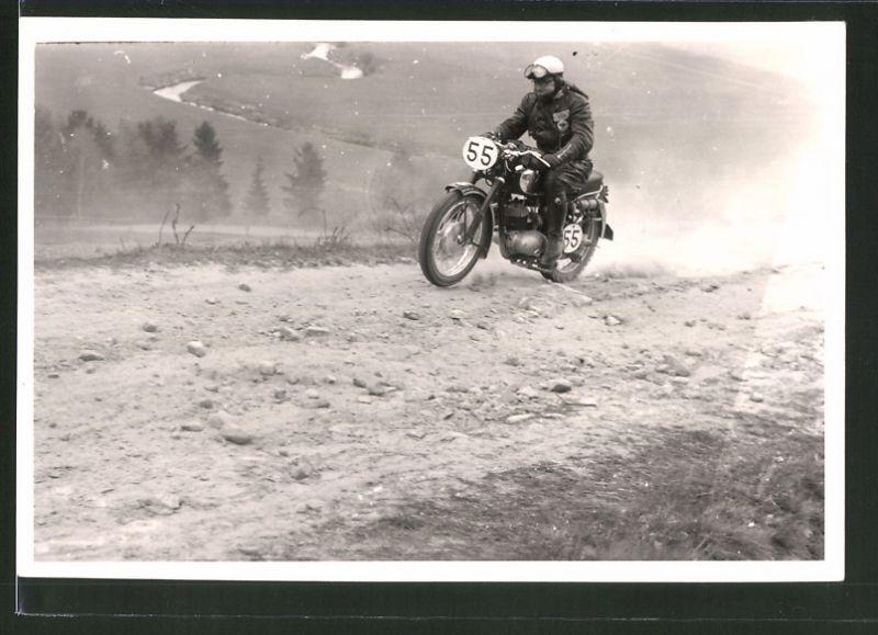 Fotografie Motorrad-Rennen Odenwaldfahrt, Motorrad DKW GS mit Startnummer 55