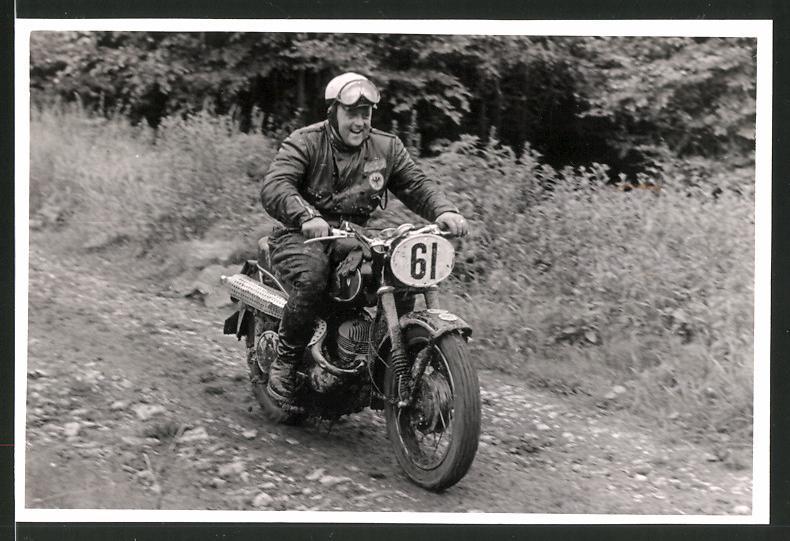 Fotografie Motorrad-Rennen, Motorrad DKW GS mit Startnummer 61
