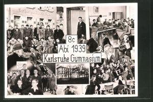 Fotografie Fotograf unbekannt, Ansicht Karlsruhe, Gymnasium 8c Abi 1939, Schulgebäude, Schüler im Unterricht