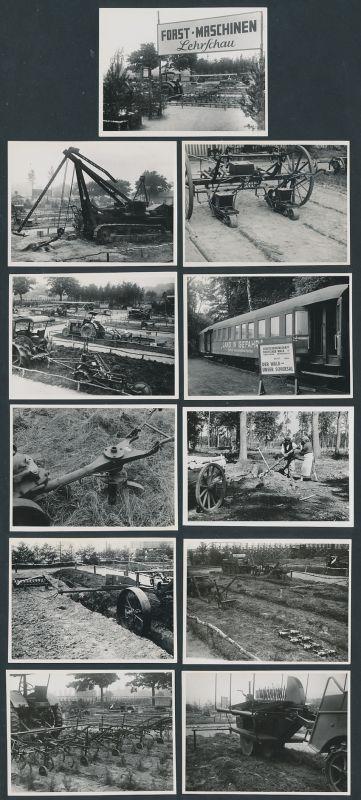 11 Fotografien Forst-Maschinen Lehrschau, Traktor Ahlborn, Raupenschlepper, Forst & Landwirtschaftliche Geräte