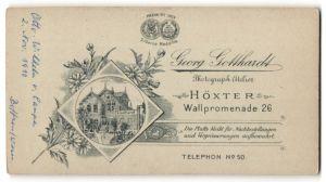 Fotografie Georg Gotthardt, Höxter, rückseitige Ansicht Höxter, Atelier Wallpromenade 26, vorderseitig Portrait