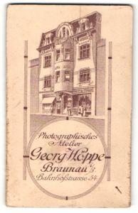 Fotografie Georg Höppe, Braunau i/B, rückseitige Ansicht Braunau i/B, Atelier Bahnhofstr. 54, vorderseitig Portrait