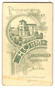 Fotografie H. Ohm, Sangerhausen, rückseitige Ansicht Sangerhausen, Atelier Georgenpromenade, vorderseitig Portrait