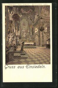 Lithographie Einsiedeln, Inneres der Kirche, Mittlerer Chor