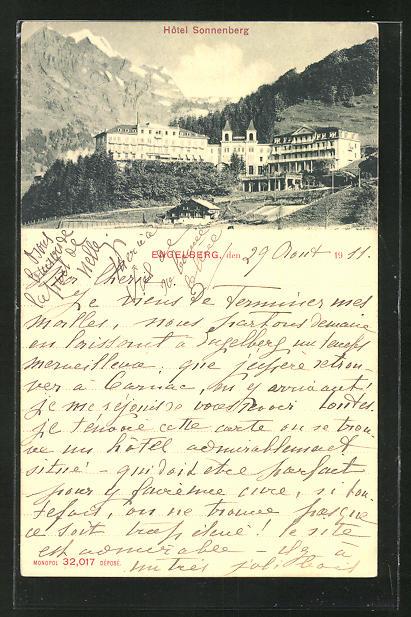 AK Engelberg, Hotel Sonnenberg mit Gebirge im Hintergrund 0