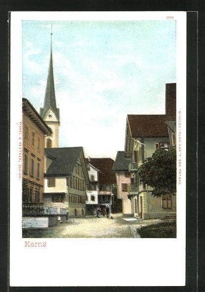 Lithographie Kerns, Flusspartie mit Kirchturm 0