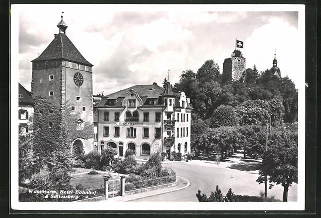 AK Laufenburg am Rhein, Wasenturm, Hotel Bahnhof & Schlossberg 0