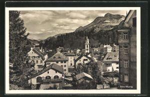 AK Sils-Maria, Ortspartie mit Bergen
