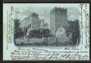 Mondschein-AK Maienfeld, Schloss Brandis