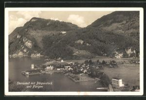 AK Stansstad, Ortsansicht mit Bürgenstock und Fürigen