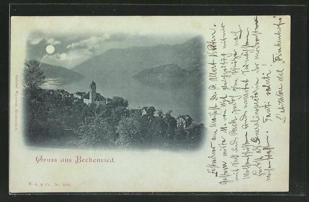 Mondschein-AK Beckenried, Blick über den Ort mit Kirche