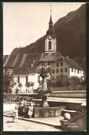 AK Altdorf, Kirchplatz mit Springbrunnen