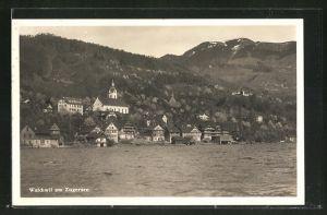 AK Walchwil am Zugersee, Ortsansicht vom Wasser aus gesehen