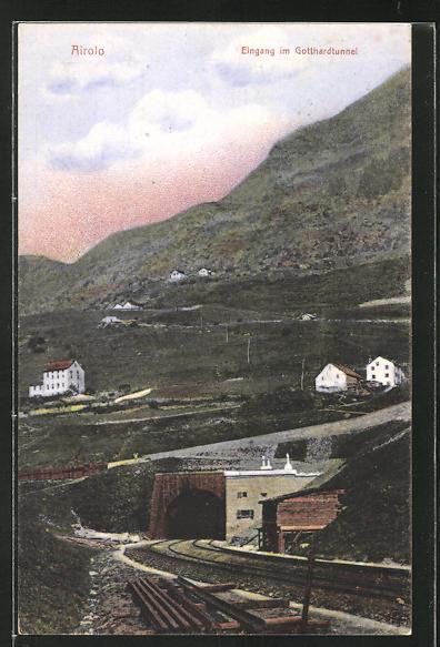 AK Airolo, Eingang zum Gotthardtunnel