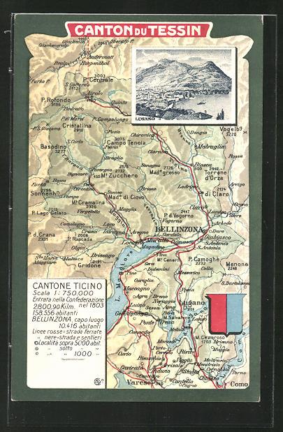 AK Lugano, Ortsansicht, Landkarte mit umliegenden Ortschaften