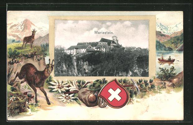 Präge-Passepartout-Lithographie Mariastein, Blick zum Schloss, fliehende Ziege, Jägerausrüstung