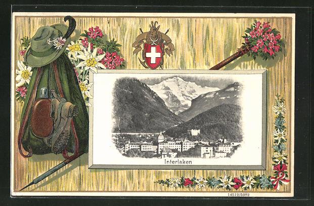 Präge-Passepartout-Lithographie Interlaken, Ortsansicht mit Gebirge, Jägerausrüstung hängt an einer Wand