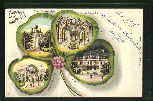 Passepartout-Lithographie Monte Carlo, Palais des Beaux-Arts, Casino, Vue des Jardins, Nouvelle Salle de Jeu, Kleeblatt