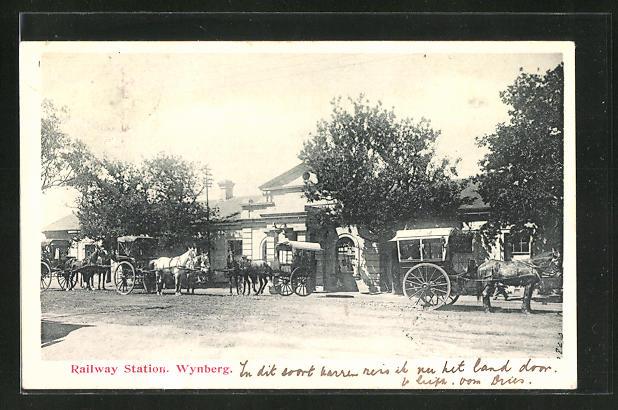 AK Wynberg, Bahnhof mit wartenden Pferdekutschen